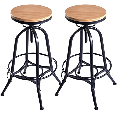 Costway Vintage Bar Stool Metal Frame Wood Top Adjustable Height Swivel Industrial (2Bar Stools)  sc 1 st  Amazon.com & Amazon.com: Costway Vintage Bar Stool Metal Frame Wood Top ... islam-shia.org