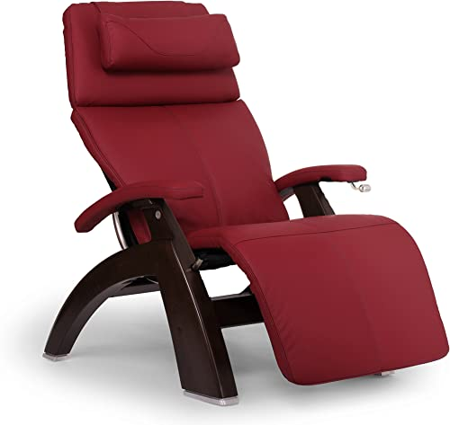 """Perfect Chair """"PC-420"""" Top Grain Leather Hand-Crafted Zero-Gravity Dark Walnut Manual Recliner"""