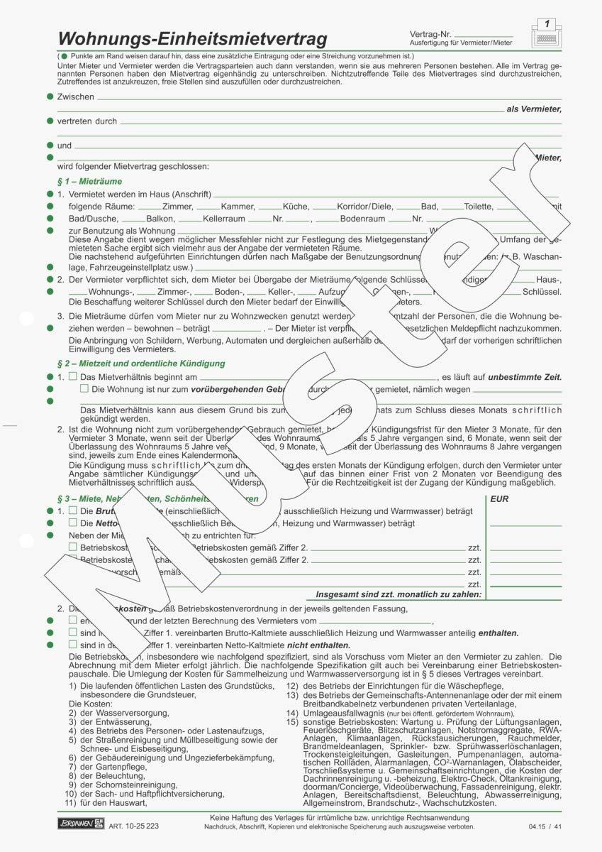 Baier Schneider Vertragsformular Mietvertrag Einheitsmietvertrag