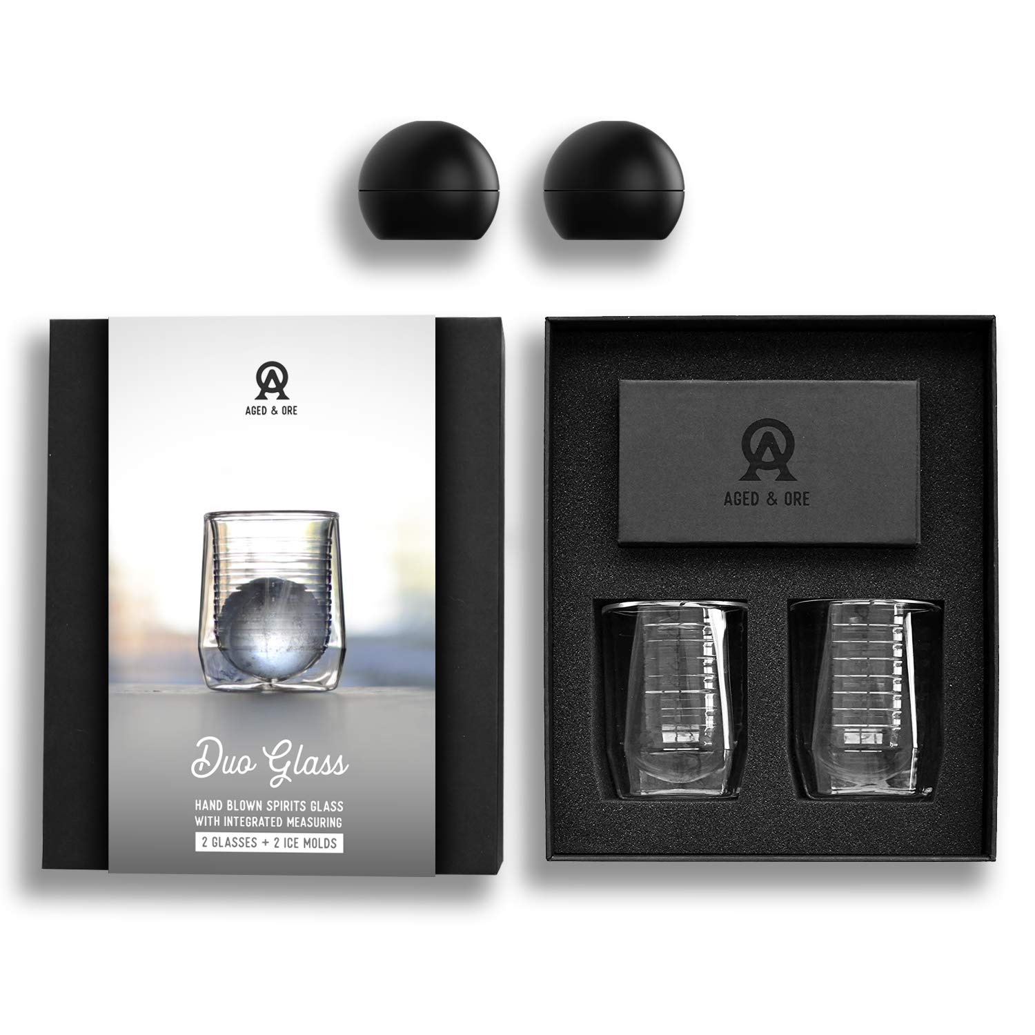 Aged & Ore - The Duo Glass | Hand Blown Double Walled Whiskey Glass Gift Set with Free Silicone Ice Molds | Integrated Measuring Lines for the Perfect Cocktail | Durable Modern Tumbler | Set of 2 by Aged & Ore