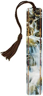 product image for Waterfall at Olympic National Park, WA - Color Photograph by Mike DeCesare - Handmade Wooden Bookmark with Tassel