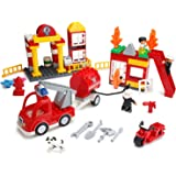 Play Build Fire Station Building Blocks Set –86 Pieces – Includes Fire Department, Building, Fire Engine, Motorcycle, Firemen & Boy Minifigures, Dalmatian & Accessories –Compatible with LEGO DUPLO