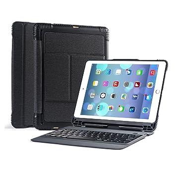 Funda de teclado desmontable para iPad 9.7 pulgadas 2018 2017 con soporte integrado para lápices Apple