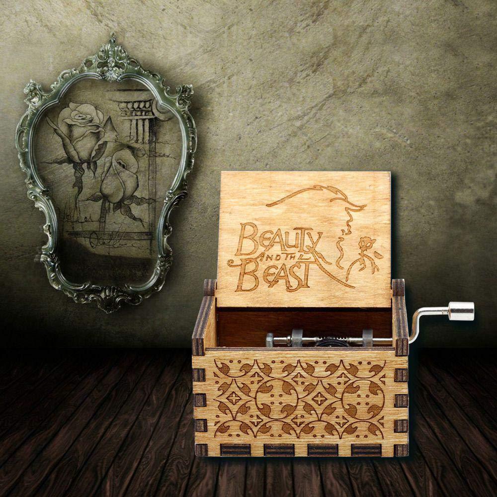 Artigianato Pawaca Carillon in Legno/ /Manovella Carillon Gift 10 Game of Thrones//Harry Potter//la Bella e la Bestia Music Box Decorazione per la casa inciso a Mano in Legno Music Box