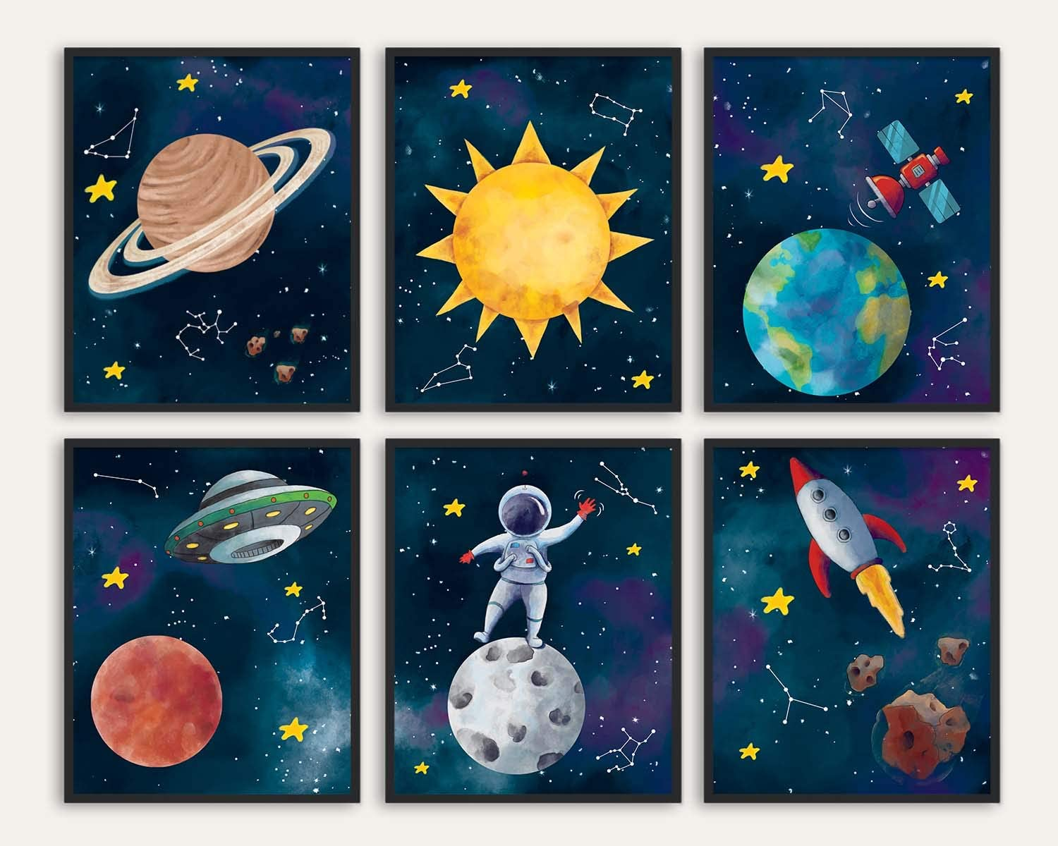 Space Themed Bedroom Decor - 8x10 Inches Unframed Set of 6, Sun, Earth, Planet, Star, Rocket, Astronaut, Outer Space Room Decor, Space Decorations For Kids Room, Space Poster, Space Wall Decor