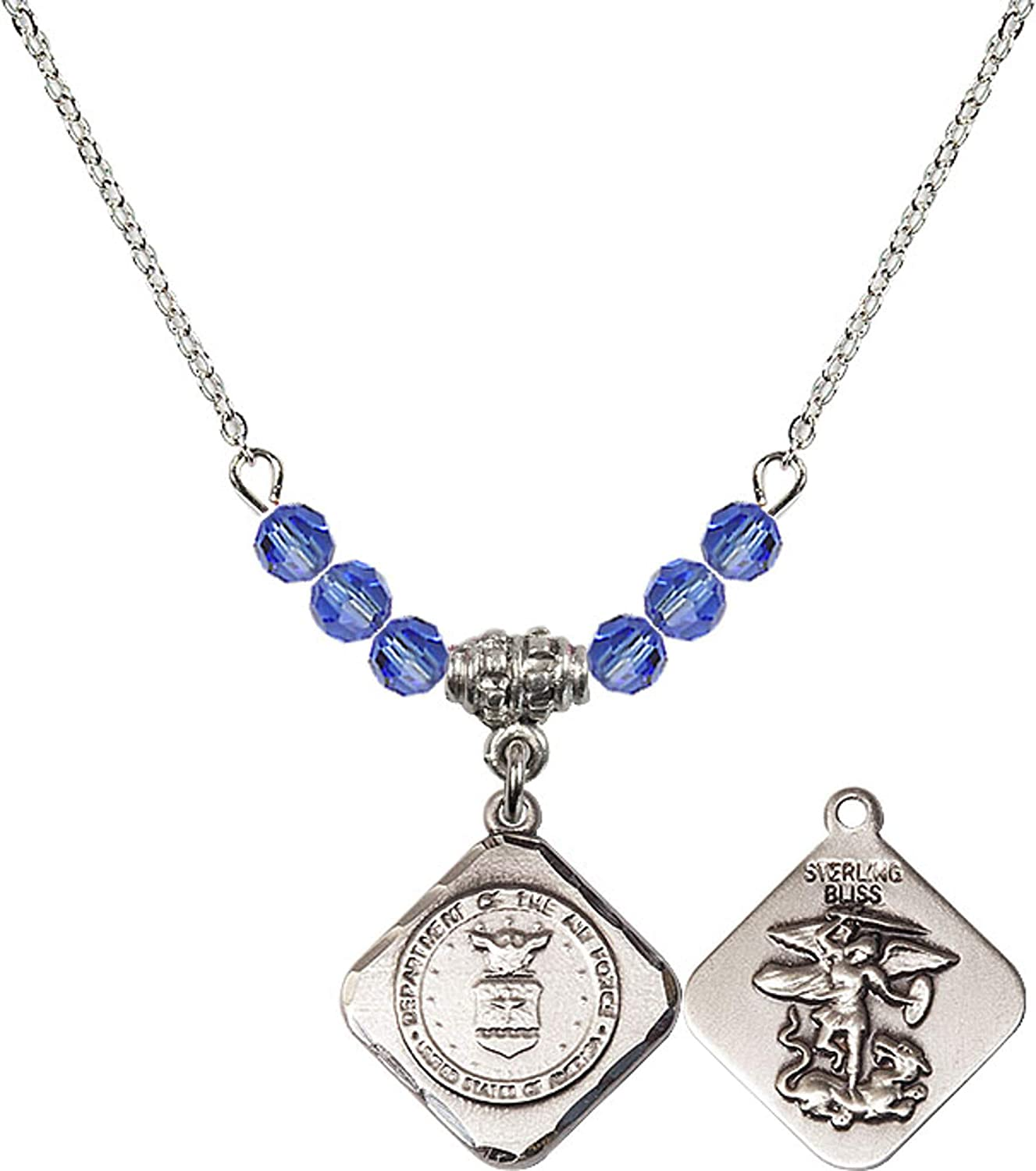 Bonyak Jewelry 18 Inch Rhodium Plated Necklace w// 4mm Blue September Birth Month Stone Beads and Air Force Diamond Charm