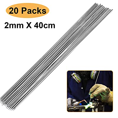 Elecxlink Aluminum Welding Rods, 20-Pack 15.8in (40cm) Universal Low Temperature Aluminum Welding Cored Wire for Electric Power, Chemistry