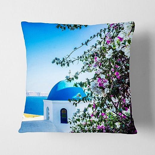 Arty pie cojín y manta funda de almohada Santorini azul ...