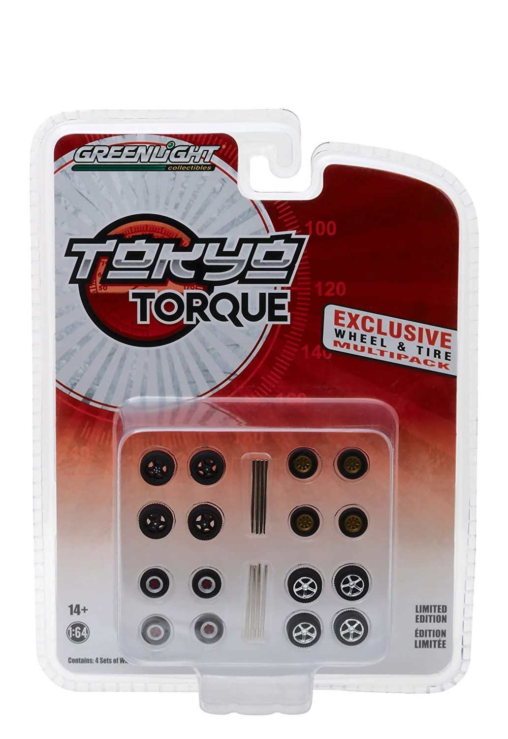 Wheel and Tire Multipack Set of 16 pieces Tokyo Torque Series Hobby Exclusive 1 64 by Greenlight 13163