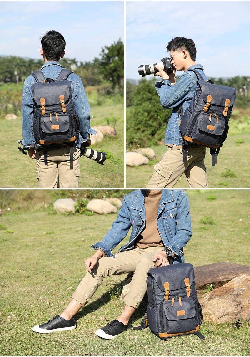 Canvas SLR DSLR Camera Backpack Large Capacity Front Open Waterproof Anti-Shock Camera Rucksack Camera Travel Bag Professional Camera Lens Organizer Green Camera Bag