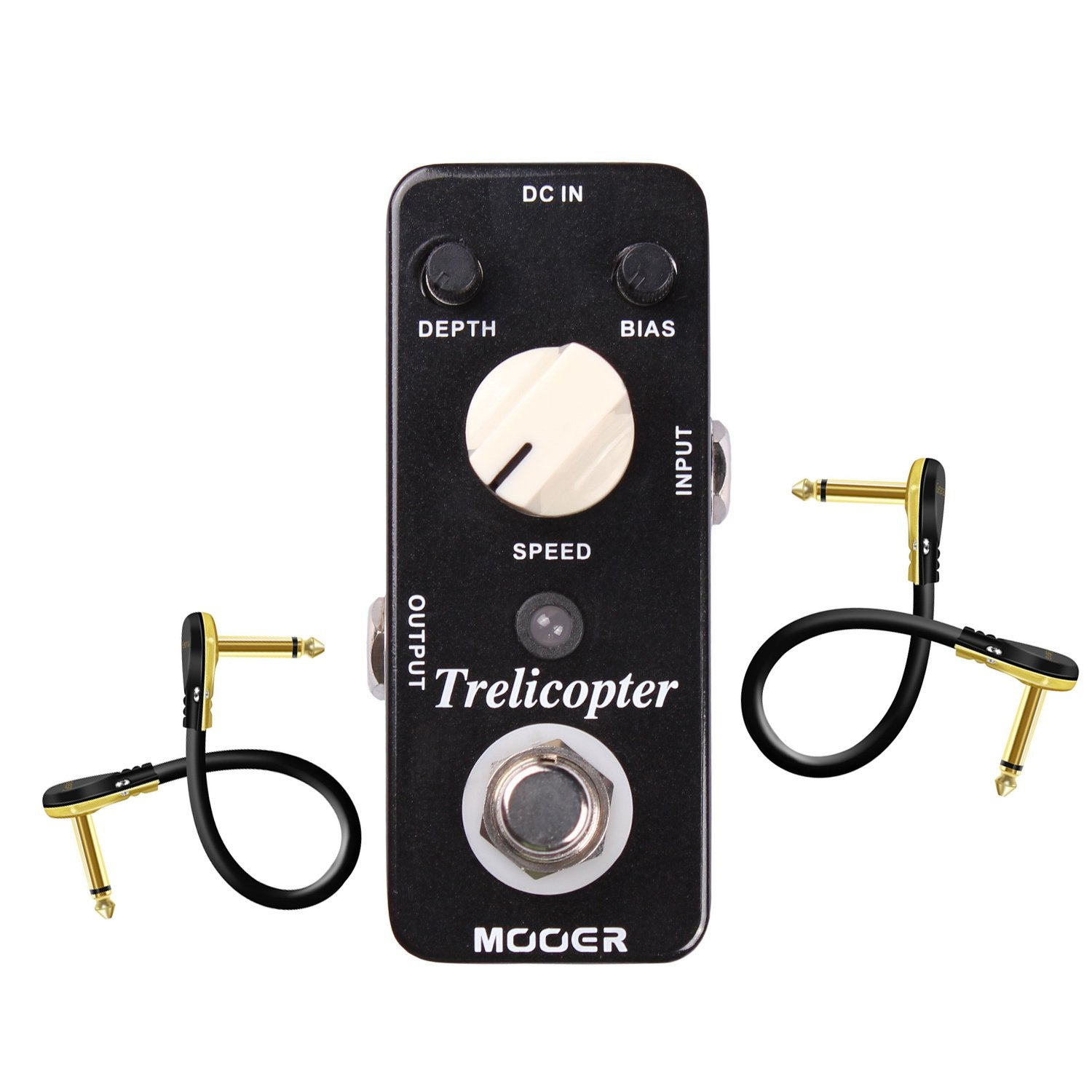 Mooer Trelicopter Tremolo Pedal with 2 Getaria Guitar Effect Cables