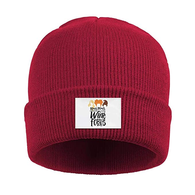 Uuu Hhhyy Hocus-Pocus- Winter Warm Wool Ribbed Hat Watch Cap Black and Red e254ba246e