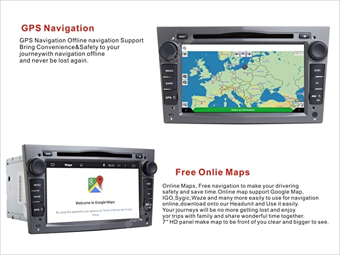 Android 7.1/st/ér/éo de Voiture Head Unit pour Opel Astra Zafira Corsa avec GPS Bluetooth Prise en Charge GPS WiFi Dab Android Auto 128/Go USB SD AUX 17,8/cm /écran Tactile