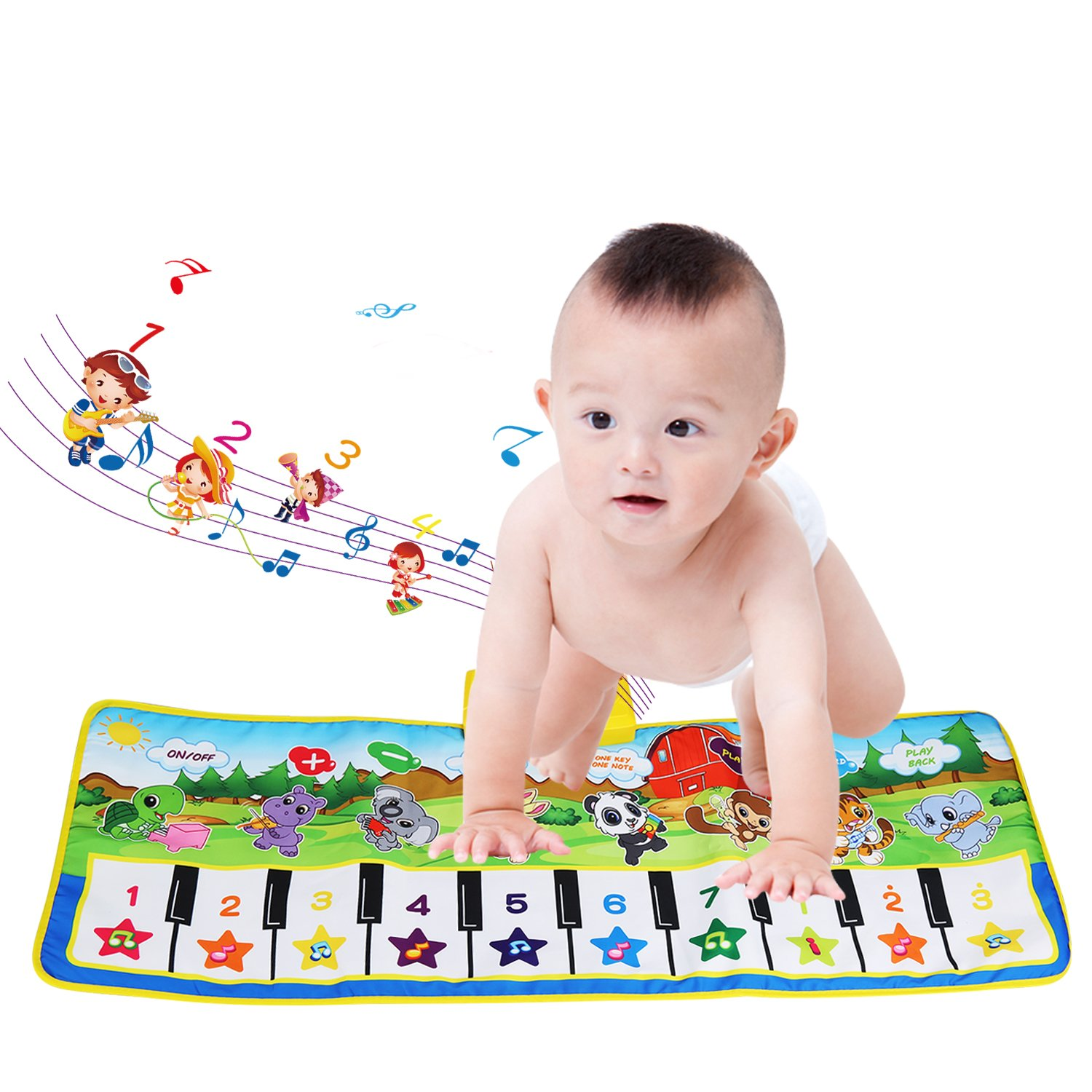 Children's Musical Toys, BELLESTYLE Baby Musical Game Carpet Mat Musical Instrument Toy Touch Play Keyboard Gym Play Mat for Kids (Blue) Children' s Musical Toys
