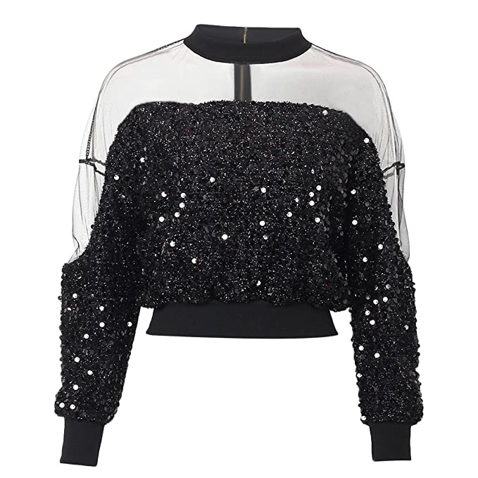 5cd1c1b129502b XZmy Women Mesh Sequin Glitter Patchwork Blouses Long Sleeve Crop Tops  Turtle Neck (One Size
