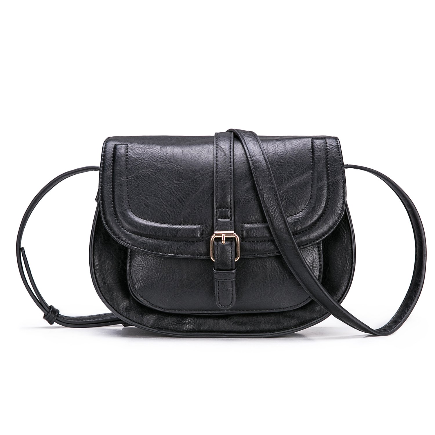 Small Purse Vintage Satchel for Women PU Leather Cover Hasp Crossbody Bag and Saddle Shoulder Bag with Long Adjustable Strap