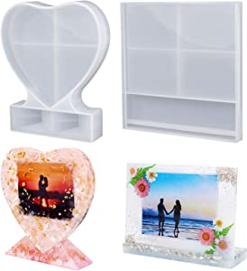 LET'S RESIN Resin Photo Frame Molds, Large Size Silicone Picture Frames Resin Molds for Casting, Square & Heart Shape Silicone Epoxy Molds for DIY Home Table Decor