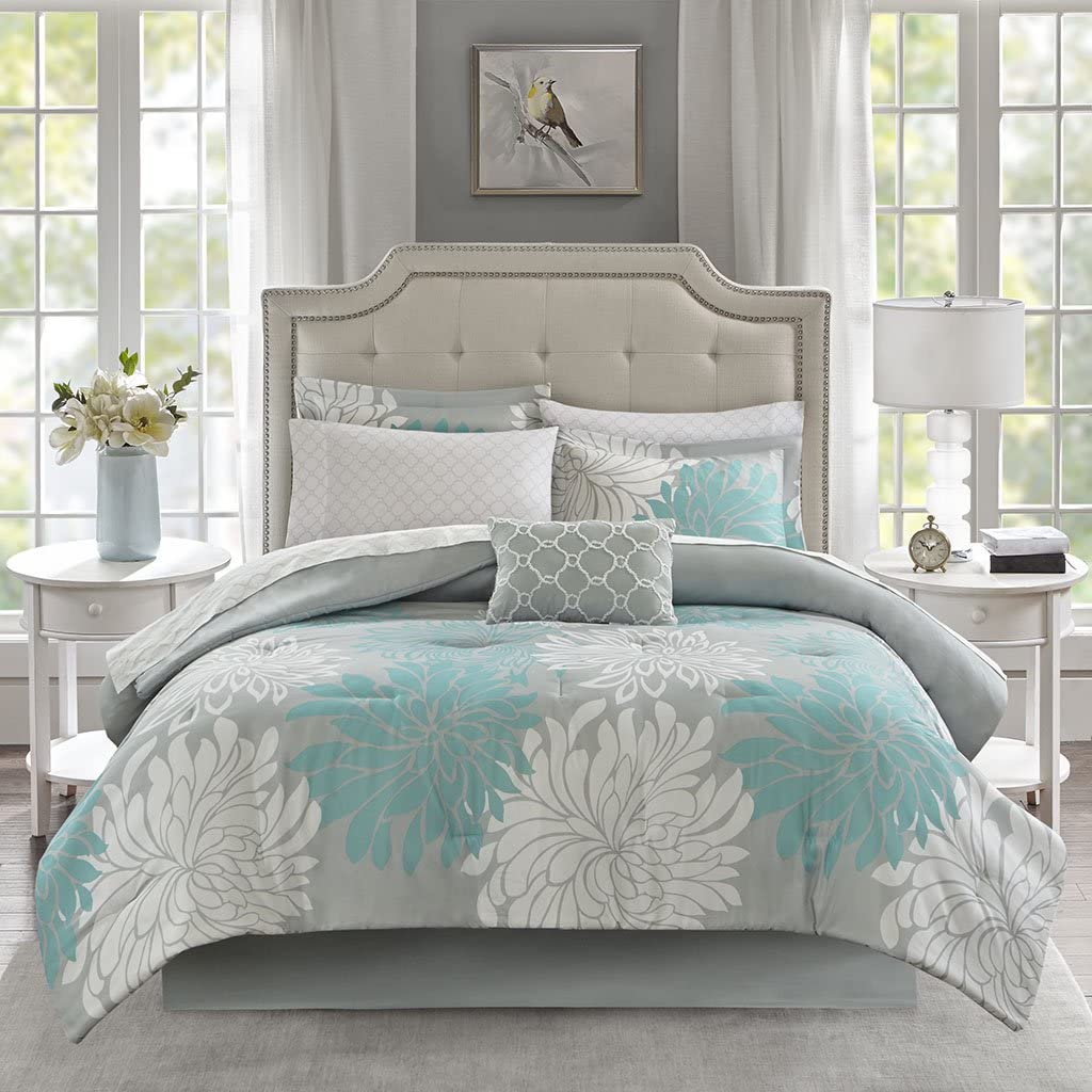 Madison Park Essentials Maible Comforter Reversible Solid Flower Floral Printed Ultra Soft Down Alternative Hypoallergenic Microfiber with Cotton Sheets All Season Bedding-Set, Twin, Aqua