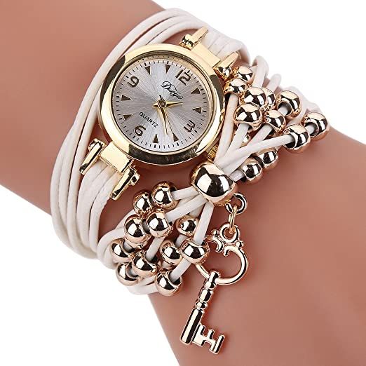 Amazon.com: Women Watches Bracelet Watch Ladies Fashion Womens Dress Watches Slim Leather Circle Band Gold Dial Quartz Wristwatches P40 Hot pink: Beauty