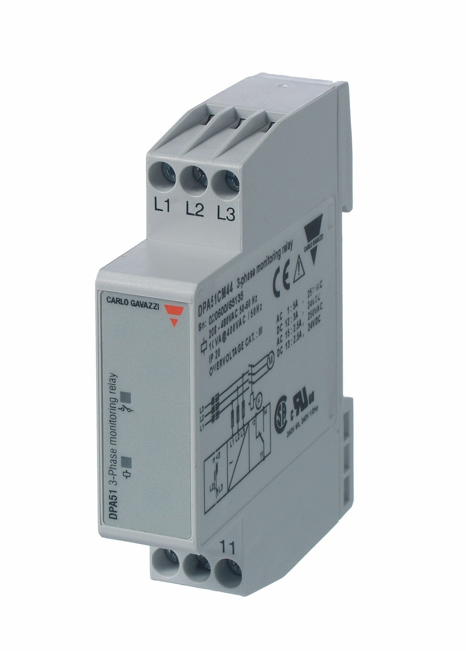 CARLO GAVAZZI DPA51CM44 Mini 3-Phase Loss/Sequence Monitor, Slim 17.5 mm Width, 208-480 VAC Monitoring, SPDT 5 amp Contact Output, Diagnostic LEDs, 2.8 oz. Size, 24 mm Height x 99 mm Width x 73 mm Diameter by CARLO GAVAZZI