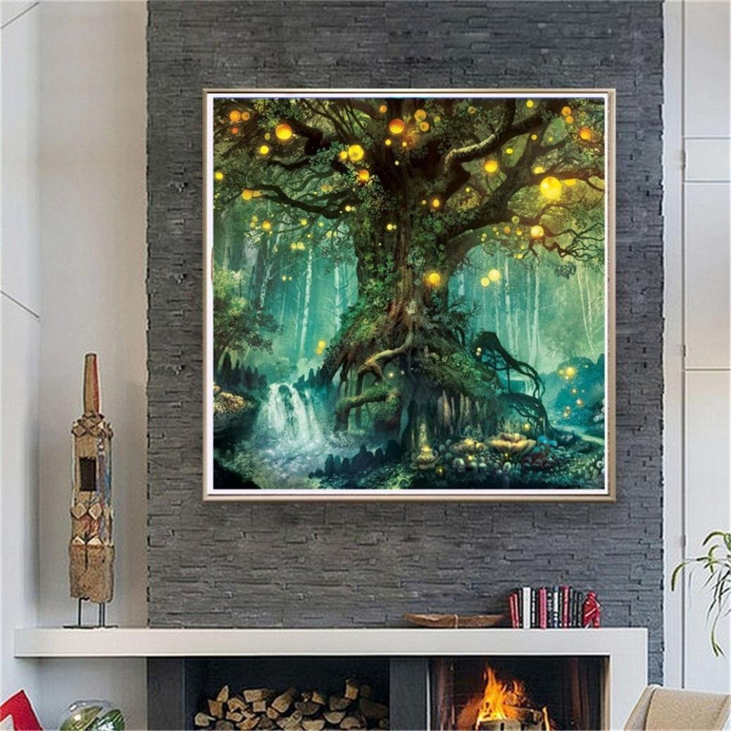 5D Embroidery Cross Stitch Craft 30 /× 30 cm Mountain Firefly Nature Old Trees Landscape Home//Office//Hotel//Bathroom Decor Wall Art Gifts Shining in The Light Cinhent Diamond Painting