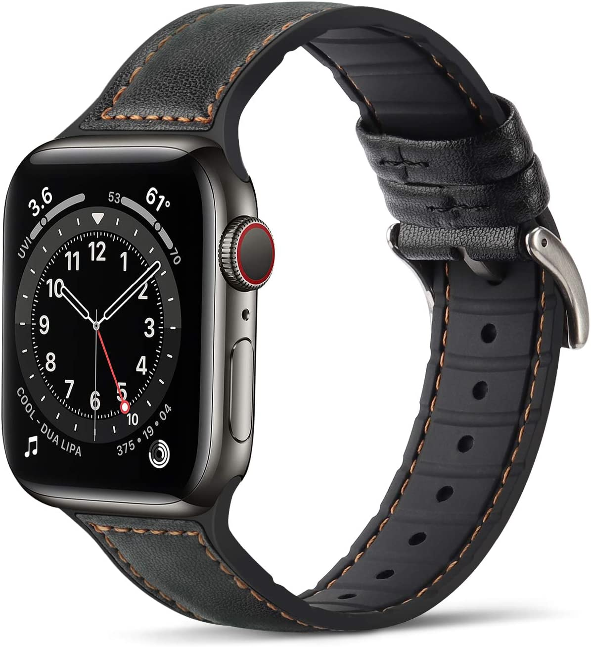 Tasikar Bands Compatible with Apple Watch Band 38mm 40mm, Genuine Leather with Soft Silicone Hybrid Design Replacement Strap Compatible with Apple Watch SE Series 6 5 4 3 2 1- (38mm 40mm, Black)