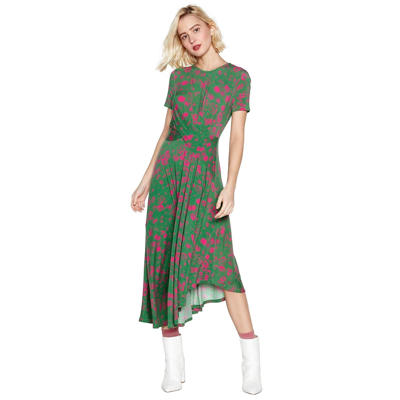 af3ffaa1b90 Studio by Preen Womens Green Floral Print Asymmetric Midi Dress  Studio by  Preen  Amazon.co.uk  Clothing