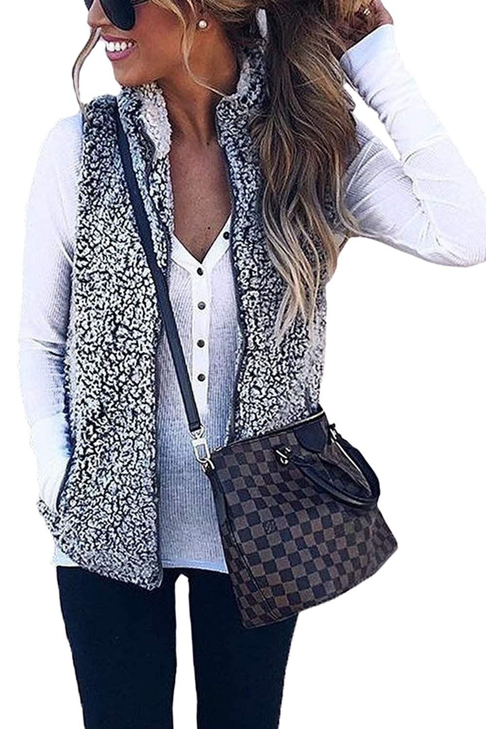 Assivia Women's Zip up Faux Fur Fleece Sherpa Vest Warm Cardigan Waistcoat Pockets