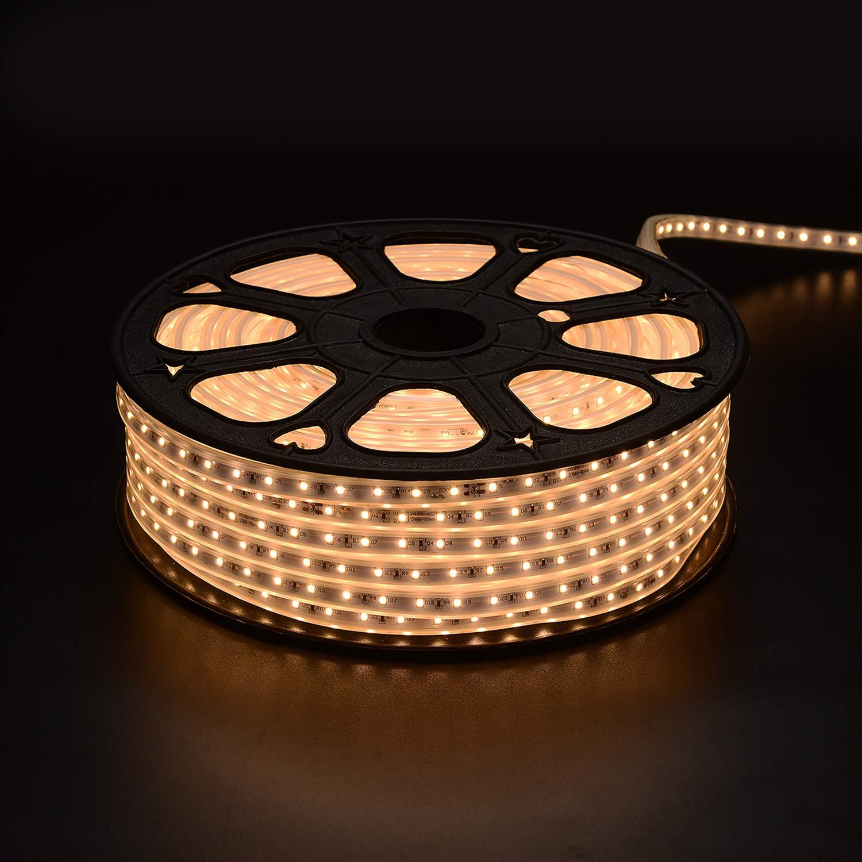 High Voltage LED Light Strips Plug in, IP65 Waterproof Flex Cuttable Strip Lights for Indoor & Outdoor Decoration, 164FT/50M 110V SMD2835 60 LEDs/Meter Single Color 3000K Warm White