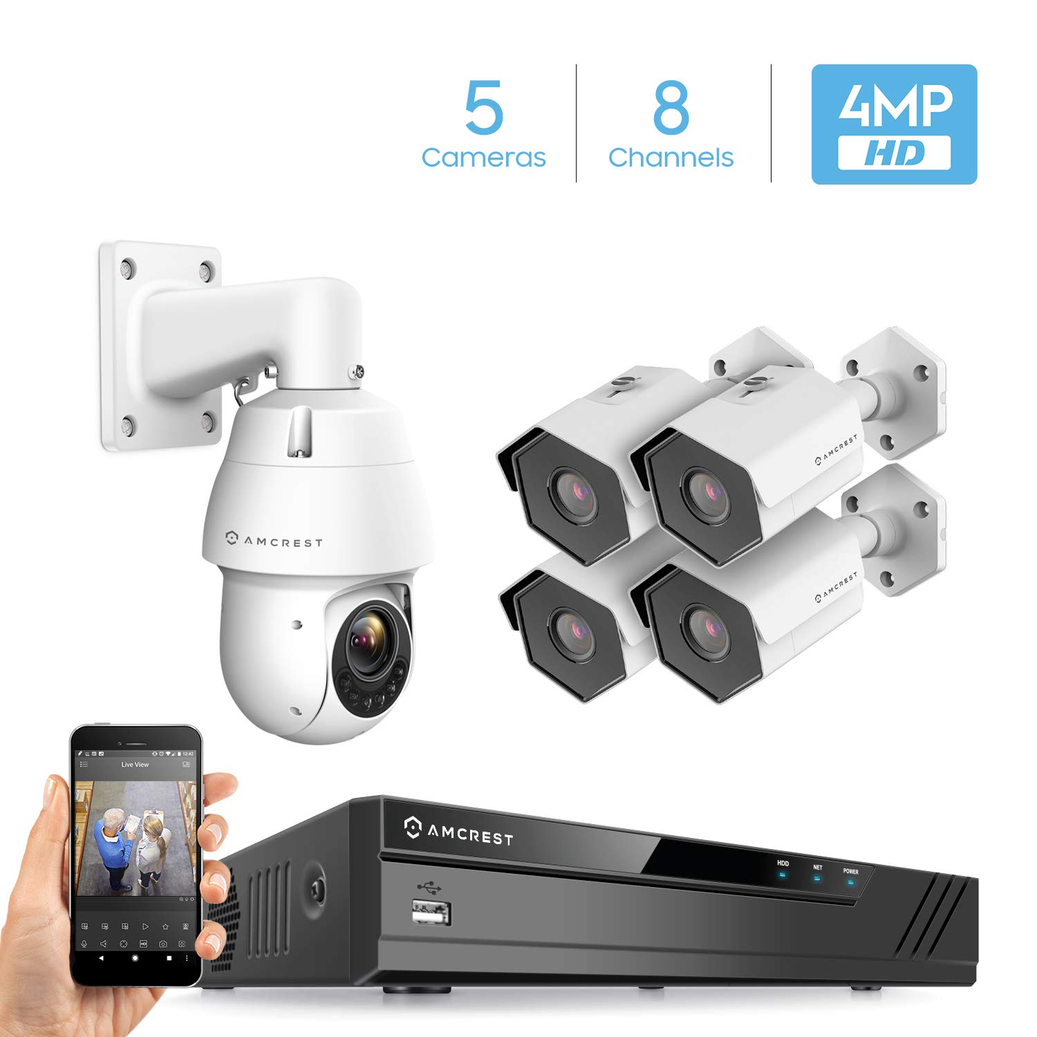 Amcrest 4MP Security Camera System, w 4K 8CH PoE NVR, 4 x 4MP IP67 Weatherproof Bullet POE IP Cameras, 1 X 4MP Speed Dome Camera, HDD Not Included, NV4108E-IP4M-1053EW1-IP4M-1026EW4 White