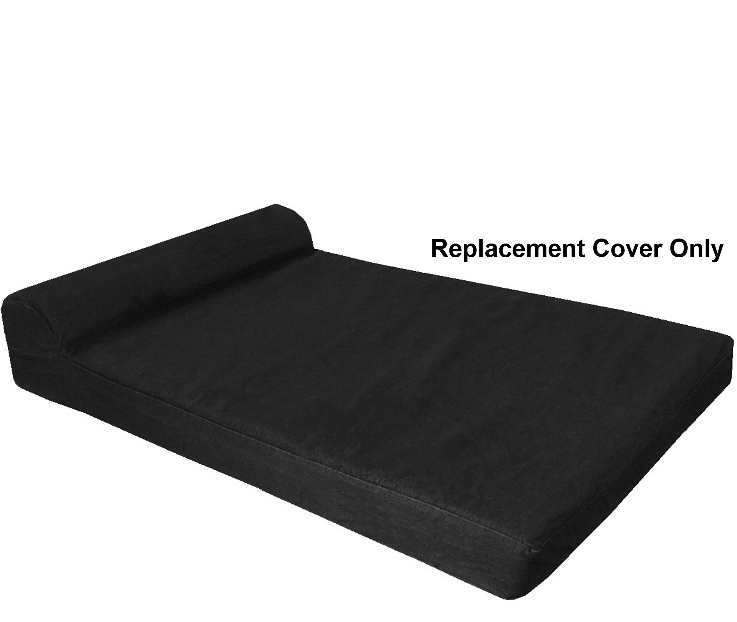 Dogbed4less HeadRest Dog Pet Bed Canvas External Cover - Replacement Cover only - XXL 55''X37''X4'' Size - Black