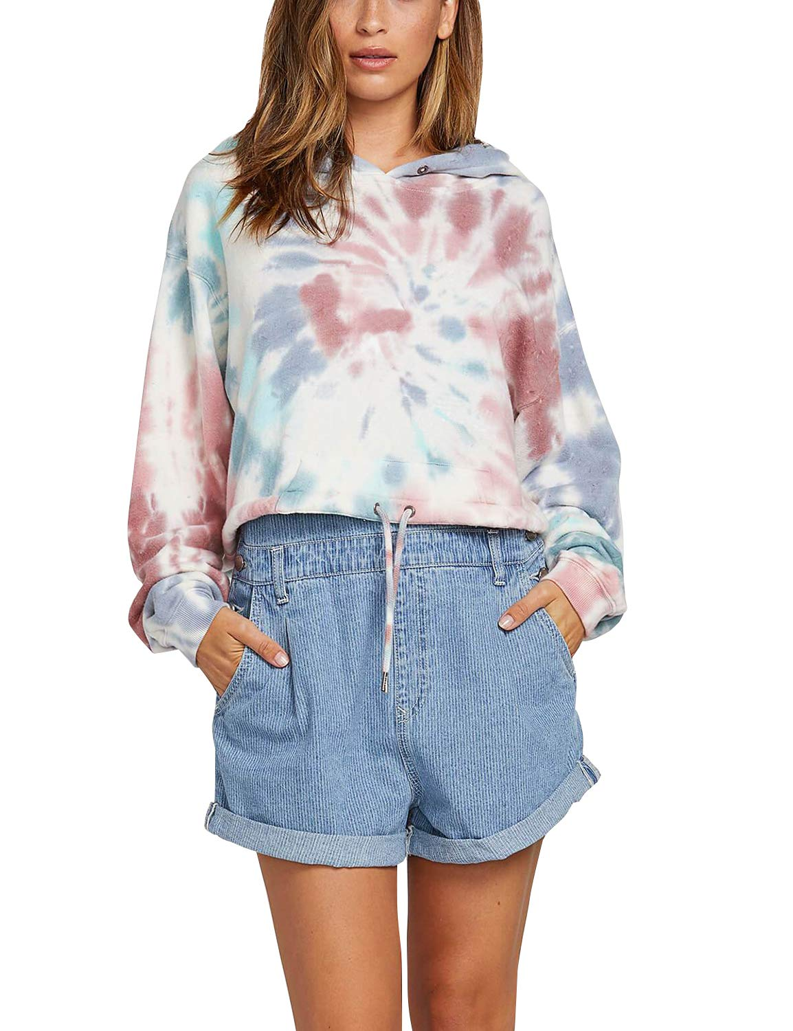 Blooming Jelly Womens Long Sleeve Tie Dye Pullover Hoodies Crop Top