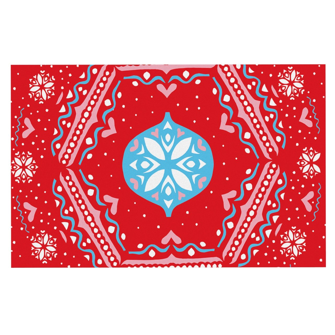 KESS InHouse Miranda Mol Snow Joy Red  bluee Dog Place Mat, 13  x 18