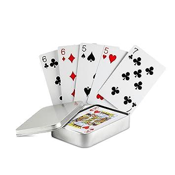Juego de cartas en caja de lata), color plateado mate ...