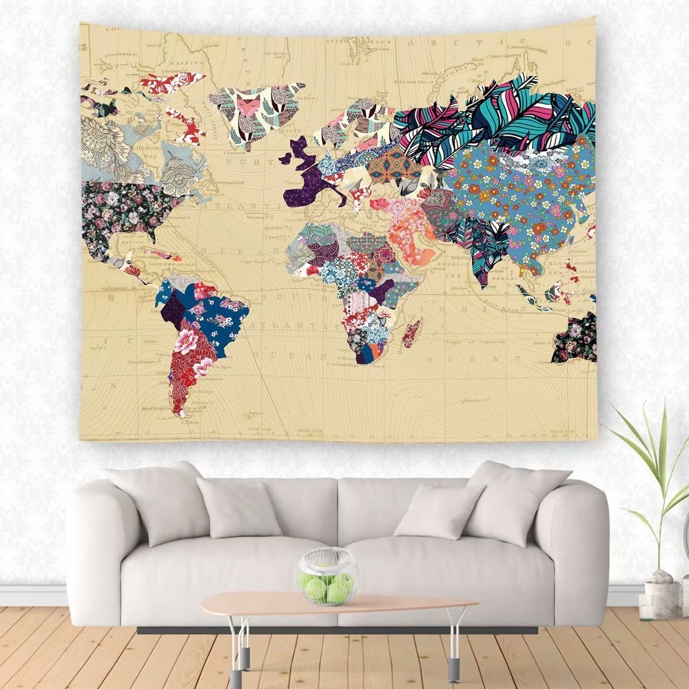 Amazon.com: TSDA Floral World Map Tapestry Colorful Painting Wall ...