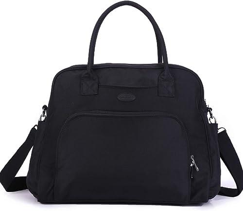 Lily Drew Carry On Weekender Overnight Travel Shoulder Bag for 15.6 Inch Laptop Computers for Women Black V2