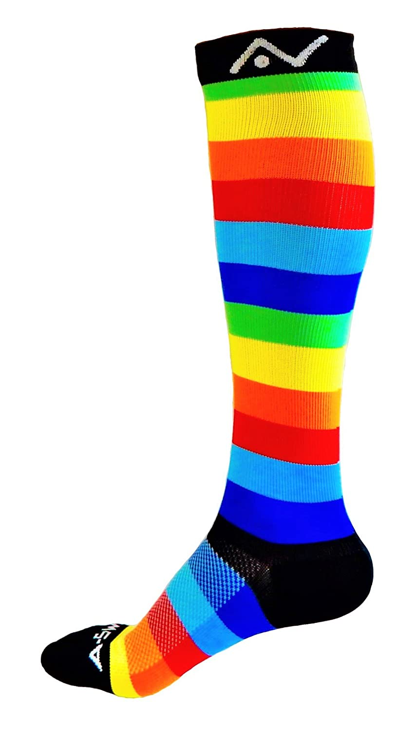 A-Swift Compression Socks for Women and Men - Rainbow Stripes, Small