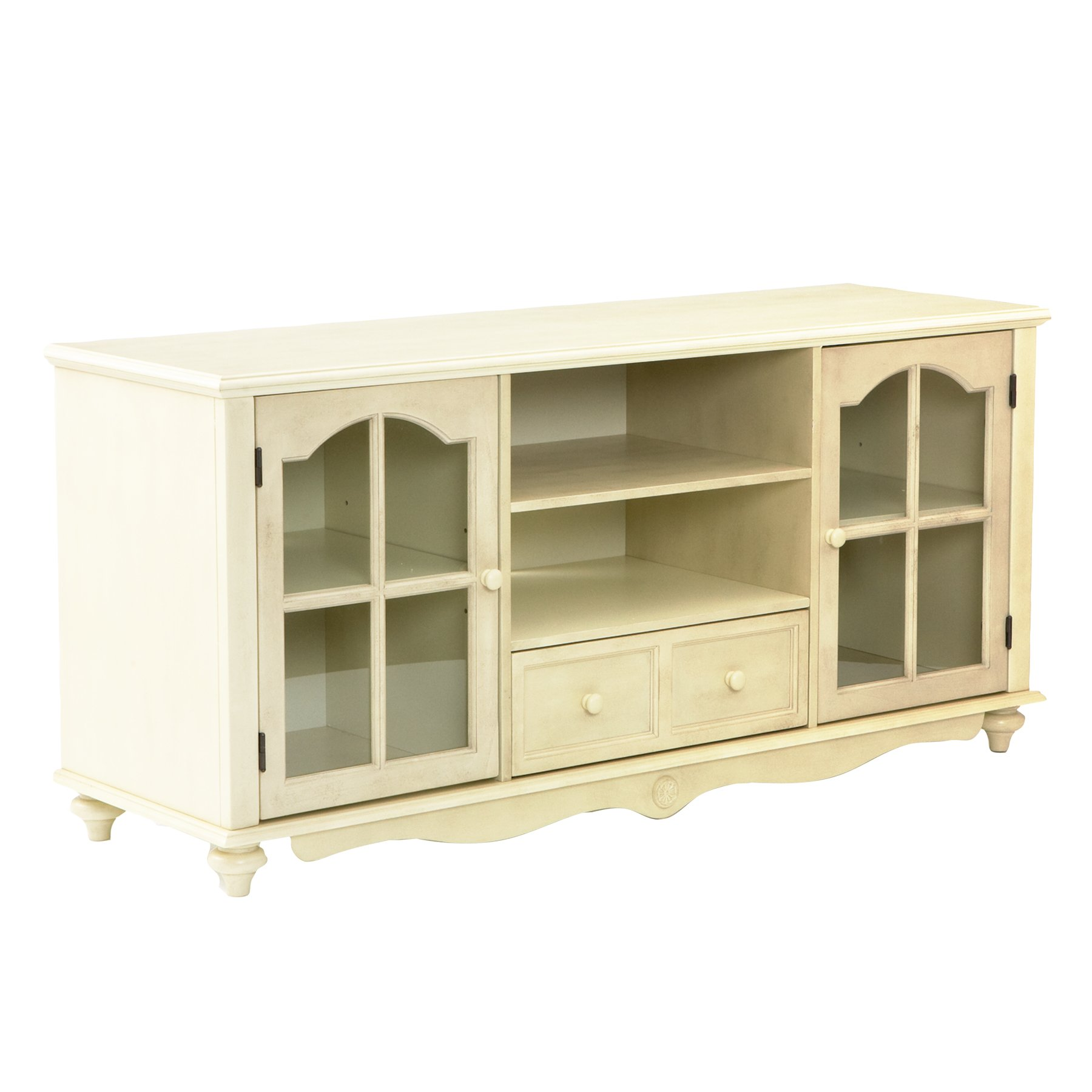Covetry Large TV Console - Windowpane Cabinets w/ Shelves - Antique White Finish by Southern Enterprises