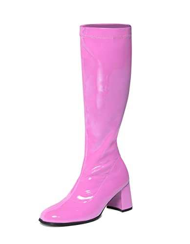 069de2550c3 Hot Pink Knee High Boots - 60s 70s Fashion Boots - Cerise GoGo Boots - Sizes