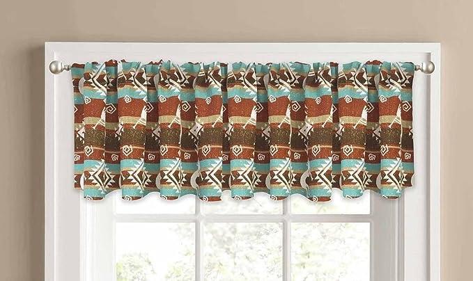southwest window valances kokopelli valance curtain southwest southwestern aztec 14quot amazoncom