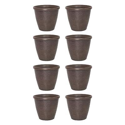 Suncast Chariton 16 Inch Resin Round Decorative Flower Pot Planter (8 Pack) : Garden & Outdoor
