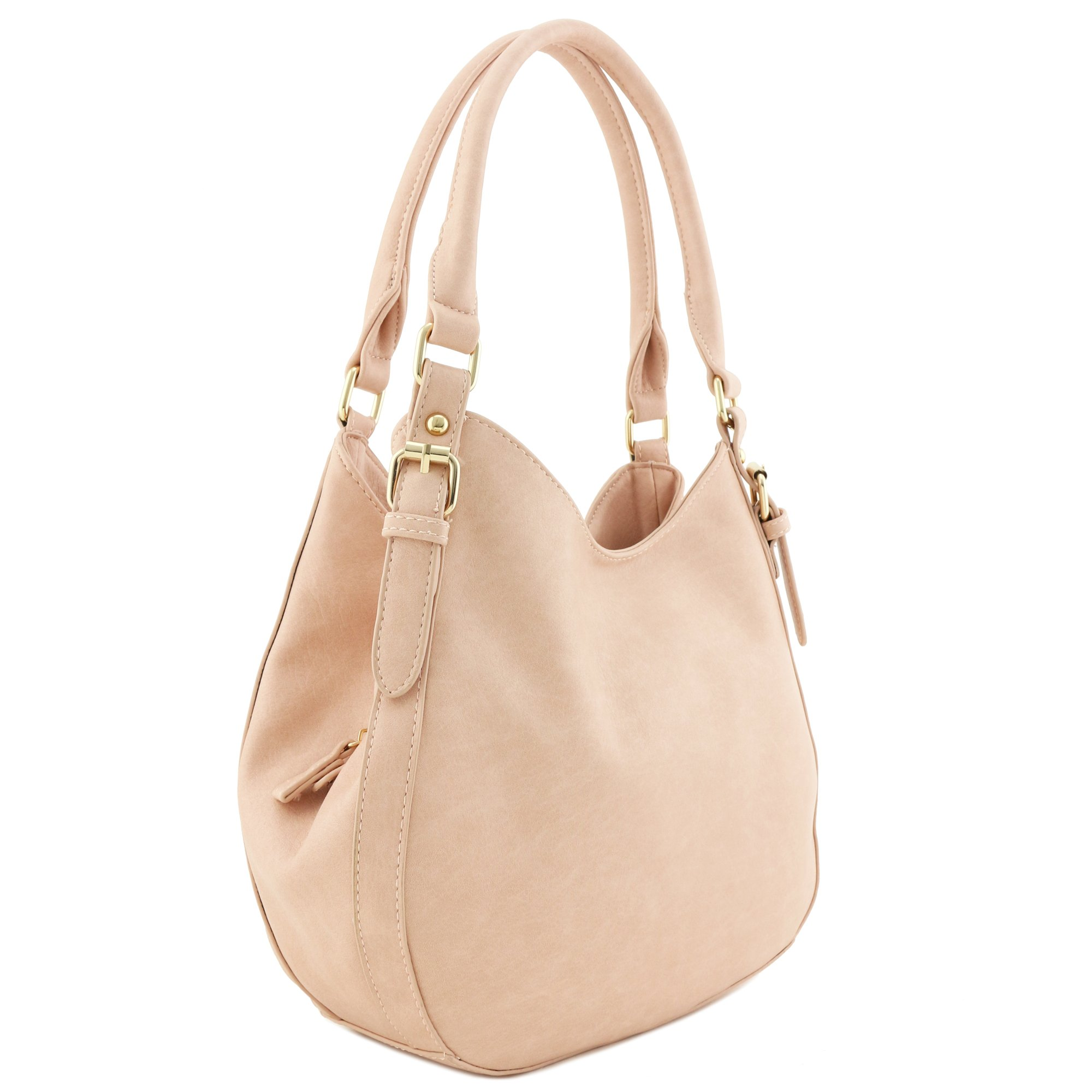 Light-weight 3 Compartment Faux Leather Medium Hobo Bag Blush