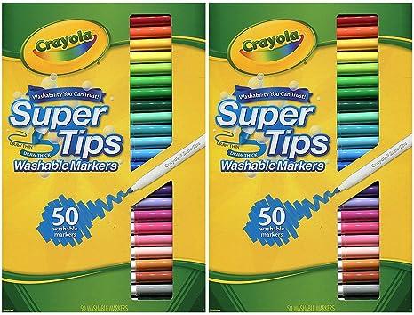 amazon com crayola washable super tips 50 count 2 boxes toys