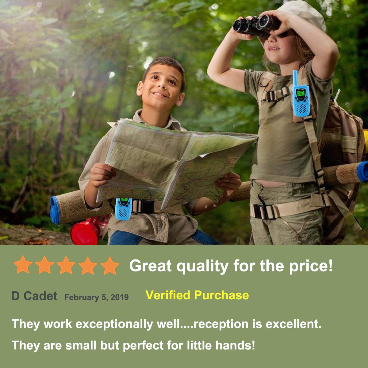 WES TAYIN Kids Walkie Talkies Rechargable, 4 Miles Long Range Walkie Talkies Toy with Durable Rugged Sports Design and Flashlight, Two Way Radios Toy 2 Pack, Batteries not Included(Blue) by WES TAYIN (Image #5)