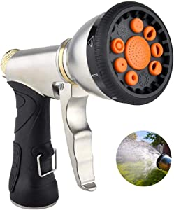 "Hose Nozzle Hose Sprayer Heavy Duty Hose Spray Nozzle with 9 Adjustable Patterns Garden Hose Nozzle Water Hose Nozzle 3/4"" Brass Connector for Watering Plants & Lawn, Car Washing, Patio, Pets"