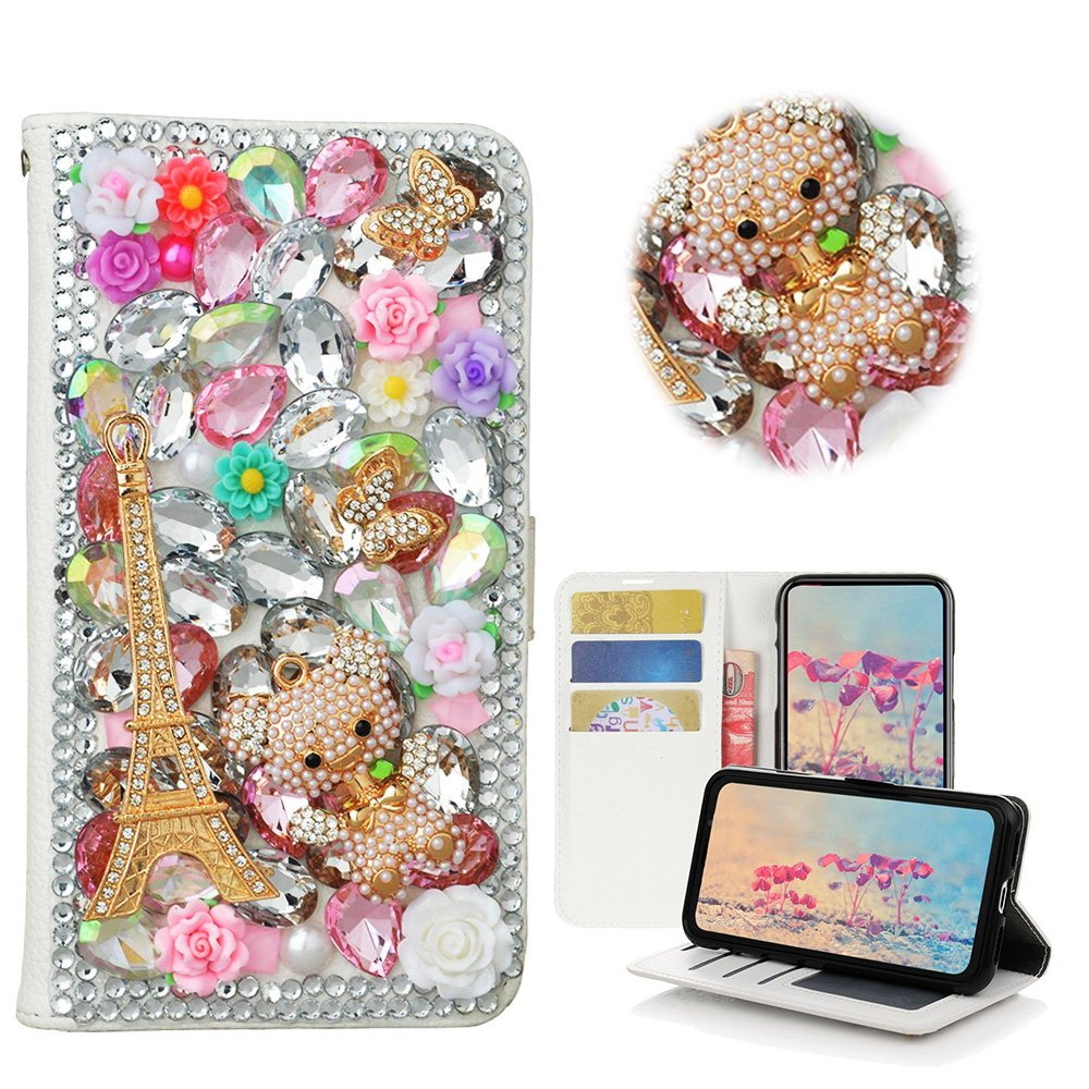 STENES iPhone 8 Plus Case - STYLISH - 3D Handmade Bling Crystal Eiffel Tower Butterfly Bear Desgin Wallet Credit Card Slots Fold Media Stand Leather Case for iPhone 7 Plus / iPhone 8 Plus - Pink