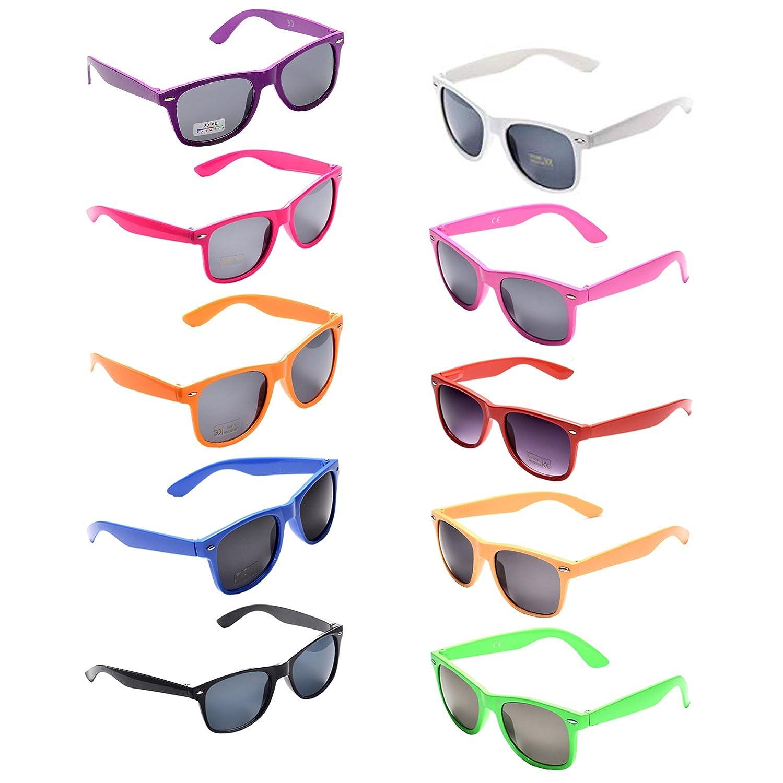 10 Packs Oaonnea 10 Packs Neon colors Party Favors 80's Retro Unisex Sunglasses,UV Predection