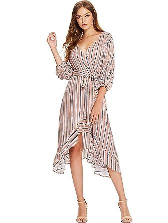 d12d70a4d562 Milumia Women's V-Neck Striped Pinstripe Flounce Dip High Low Hem Split Wrap  Dress Medium