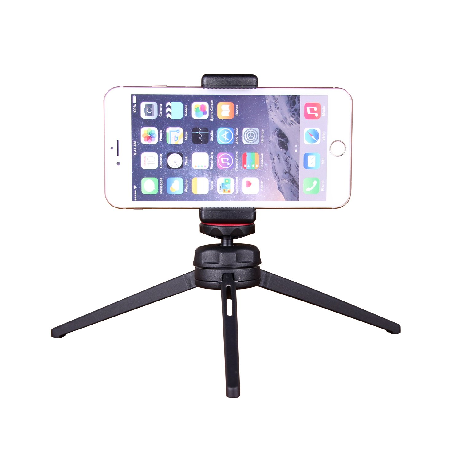 POLAM-FOTO Smartphone Tripod Adapter, Phone Tripod Mount for iPhone, Samsung, and others Smart phones, Phone Holder for Selfie Stick, Desktop Tripod, Monopod
