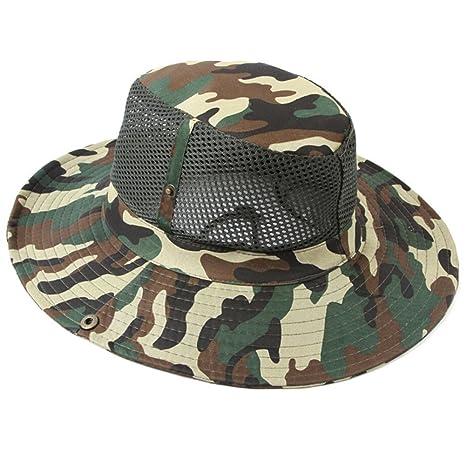 TININNA Mesh Camuflaje Sombrero de Pesca,Respirable Fresco Visera Gorra,Acampar Pesca Caza al